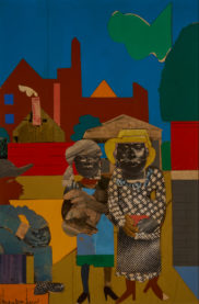 Romare Howard Bearden (American 1911 - 1988) Two Women with Child ca. 1973 collage on board 16 1/4 x 11 in. (41.3 x 27.9 cm) Gift of David Horvitz '74 and Francie Bishop Good