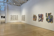 An installation view of the 2021 Annual Senior Student Exhibition at the Gund Gallery.