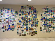 An installation photograph of the postcard exhibition